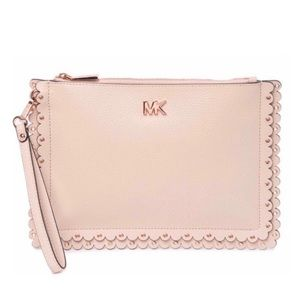 NWT Michael Kors Scalloped Leather Pink Clutch